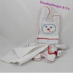 Doudou mouchoir lapin MARESE blanc bleu rouge 27 cm