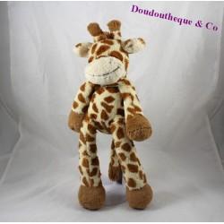 Doudou girafe NICOTOY Funky long legs beige tâches marron poils longs 40 cm
