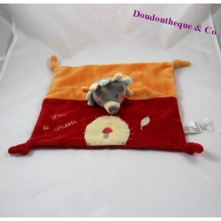 Doudou flat Hedgehog JOGYSTAR Kiabi Leon the Hedgehog red orange mushroom 26 cm