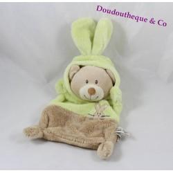 Doudou flat Grain of wheat bear disguised as green rabbit brown beige