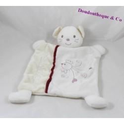 Doudou flat cat Teddy bear 25 cm white red bird