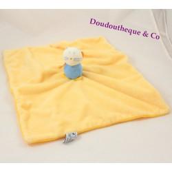 Doudou plat chat P'TIT DODO jaune bleu carré 33 cm