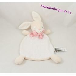 Doudou plat lapin H&M écharpe rose blanc pois 30 cm