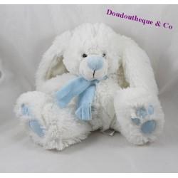 Peluche lapin ENESCO blanc bleu echarpe 23 cm
