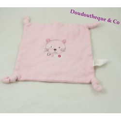 Doudou flat cat ABSORBED square 4 nodes printed flowery 20 cm