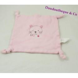 Doudou plat chat ABSORBA carré rose 4 noeuds tissus 20 cm