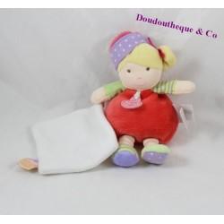 Doudou mouchoir poupée blonde DOUDOU ET COMPAGNIE Les Demoiselles cupcakes rose DC2770 19 cm