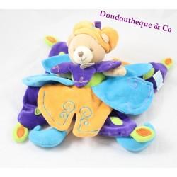 Doudou plat prince ours DOUDOU ET COMPAGNIE Indidous bleu violet orange 30 cm