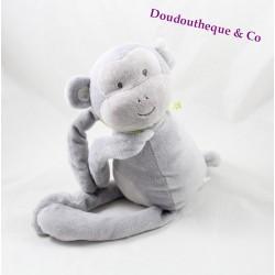 Plush monkey OBAÏBI grey green hands bandana scratch 40 cm