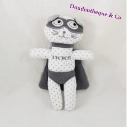 Doudou chat IKKS super héros cape et masque gris blanc pois gris 20 cm