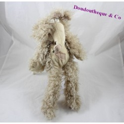 Peluche souris COCKTAIL SCANDINAVE rat beige poils longs rapiécé 35 cm