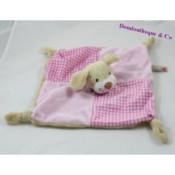 Doudou plat chien KEEL TOYS rose beige carreaux noeuds 25 cm