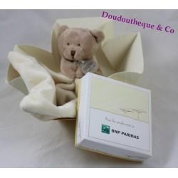 Doudou mouchoir ours DOUDOU ET COMPAGNIE Bnp Paribas DC2178BNP blanc beige 11 cm