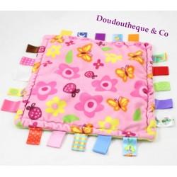 Doudou plat carré CONGERLE rose fleurs papillons étiquettes 25 cm