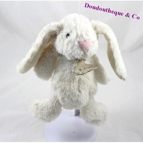 Doudou lapin HISTOIRE D'OURS beige nez rose 22 cm