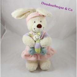 Doudou rabbit musical TEX BABY pink 29cm