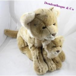 Peluche maman lionne et son bébé lionceau ANNA CLUB PLUSH Wwf lion beige tâches 40 cm