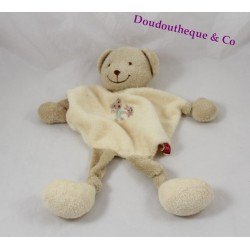 Bear flat Doudou yellow TEX Longshanks embroidered bear and rabbit Carrefour 28 cm