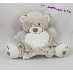 Doudou puppet bear TEX BABY beige white mottled Carrefour 24 cm
