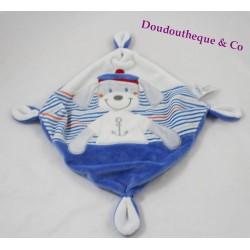 Doudou plat chien TEX marin bleu blanc noeuds 20 cm