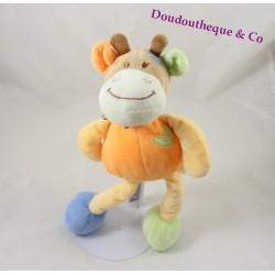 Doudou girafe TEX BABY orange vert bleu feuille verte 30 cm