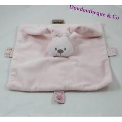 Doudou flat pink NATTOU Lapidou Bunny square 25 cm