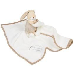 Doudou couverture lapin UN REVE DE BEBE beige marron 50 cm