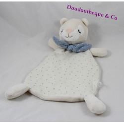 Doudou plat ours H&M blanc pois bleu écharpe bleu 27 cm