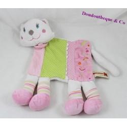 Doudou flat cat NICOTOY pink green 4-legged 26 cm