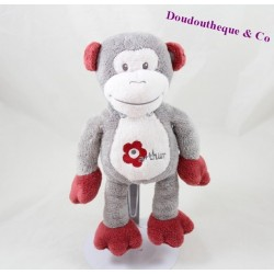 Doudou monkey ARTHUR and LOLA grey bordeaux BEBISOL flower 25 cm