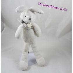 Peluche lapin DOUDOU ET COMPAGNIE classique blanc gris perle 30 cm
