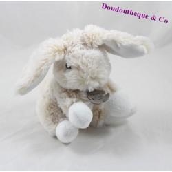 Doudou lapin HISTOIRE D'OURS Les Z'animoos assis beige HO2033 15 cm