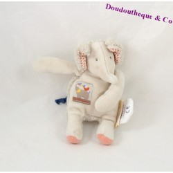 Doudou elephant MOULIN ROTY beige 13 cm Papoum pacifier attached