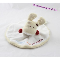 Doudou plat rond cerf renne TAPE A L'OEIL TAO beige Protect the animals 20 cm
