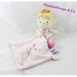 Doudou mouchoir princesse CASINO fille rose fleur