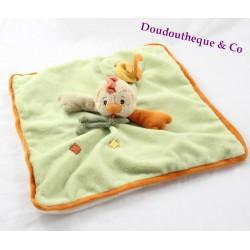 Doudou flat Chicky hen BUKOWSKI beige green orange 30 cm