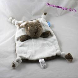 Doudou rabbit flat GRO COMPANY Grobag rectangle beige Brown 31 cm