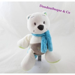 Peluche Léon renard DOUKIDOU blanc bleu marron vert Dou Kidou 22 cm