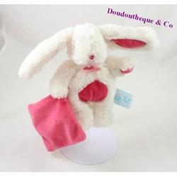 Doudou mouchoir lapin BABY NAT' Les câlins blanc rose BN071 18 cm