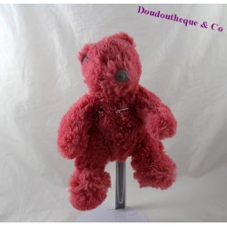 Doudou ours MARESE rose poils longs 24 cm