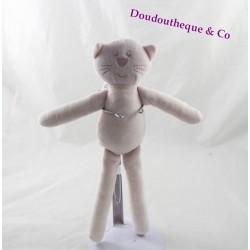 Doudou chat BOUT'CHOU Monoprix rose pâle 28 cm