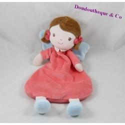 Doudou semi plat fille TEX BABY fée rose ailes bleues 34 cm