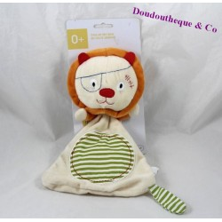Doudou flat lion OXYBUL awakening and beige stripes games green 27 cm