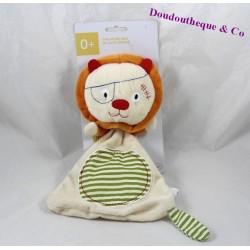 Doudou plat lion OXYBUL éveil et jeux beige rayures vertes 27 cm