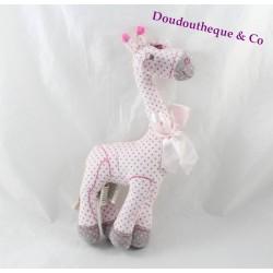 Peluche girafe TAPE A L'OEIL rose pois gris noeud 28 cm
