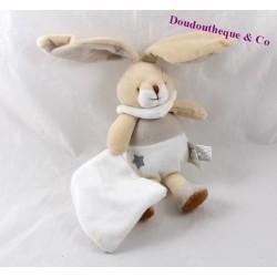 Doudou mouchoir lapin UN REVE DE BEBE beige 19 cm