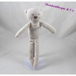 Doudou chat BOUT'CHOU Monoprix blanc pois gris 28 cm