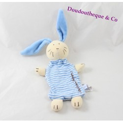 Doudou rabbit flat JACADI striped blue beige Doudou rabbit 30 cm