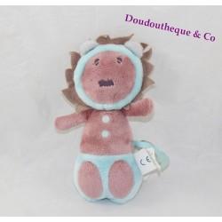Doudou hochet lion OBAIBI OKAIDI bleu et violet crinière 18 cm