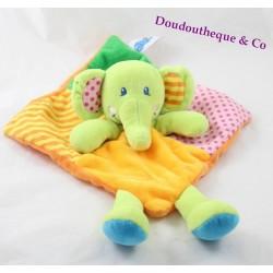 Doudou plat éléphant CASINO orange vert jaune rose rayures pois